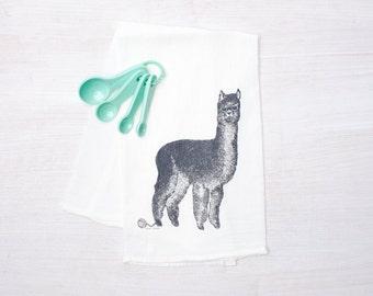 Alpaca Flour Sack Tea Towel -  Llama - Dish Towel - Tea Towel - Super Absorbent Cotton - Llama Towel - Kitchen Kitsch