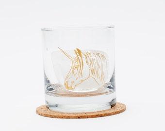 Unicorn Rocks Glass - Mirror Shine - Highball Glass - Barware