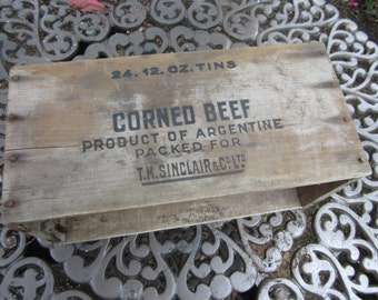 VTG Wooden Crate for Corned Beef TM Sinclair & Co Ltd Product of Argentine