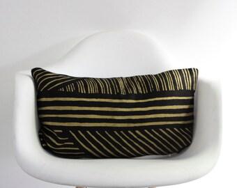 "Karnataka 12x21"" pillow cover hand printed in metallic gold on black organic hemp"