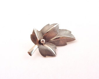 Beau Sterling Leaf Brooch - Sterling Silver Leaf and Berry Pin - Vintage 925 Jewelry
