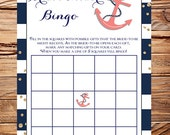 Nautical Bingo Bridal Shower Game, Coral Anchor Bridal Shower Bingo, AS IS, INSTANT Download - 5x7, navy coral anchor bridal bingo, 5333