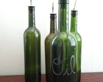 """Repurposed Wine Bottle - """"Oil"""" Engraved Dispenser"""