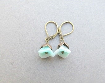 Cala Lilly Leaver Back Earrings, Aqua Seafoam, brass