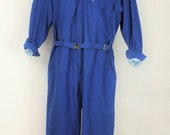 Vintage Mens Medium Coveralls Workwear Work Wear Topps Overalls Mechanics Suit Blue Made in USA America Retro Metal Buckle