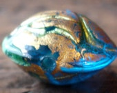 Turqoise blue and gold  glass Murano Venetian rounded bead