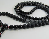 Unique ready to ship mala necklace for men - 108 beads mala for meditation in black onyx, matte obsidian, geometric garnet and labradorite