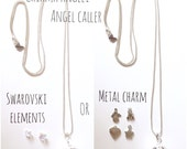 ANGEL CALLER Necklace with 20 mm silver plated bola and nickel free chain + metal charm or Swarovski's heart or butterfly