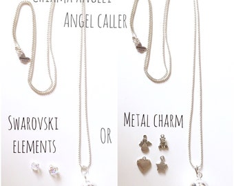 20% OFF! ANGEL CALLER Necklace with 20 mm silver plated bola and nickel free chain + metal charm or Swarovski's heart or butterfly