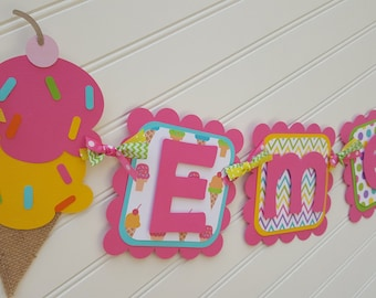 Ice Cream Happy Birthday banner, Sweet Shoppe Birthday, Ice Cream party decorations.  Girls Happy Birthday banner.  Sweet Treats banner