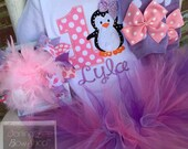 Baby Girl First Birthday Tutu Outfit - Winter Onederland - pink and lavender penguin theme tutu, bodysuit, Over The Top bow & leg warmers