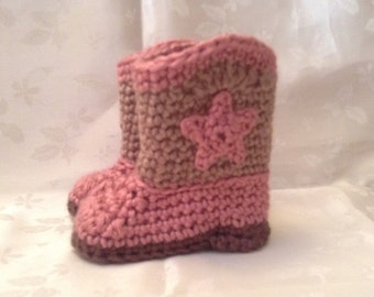 Pink and Brown Crochet baby cowboy booties  boots 3 to 6 month Ready to Ship Infant Booties