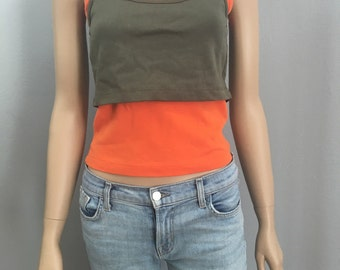 90s Double Layer Colorblock Tank