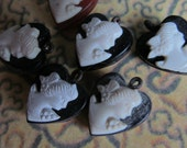 6 Vintage Vulcanite Cameo  Hearts