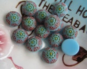 """10 Vintage Mini  Sky Blue """"Mosaic"""" Floral Glass Cabochon"""
