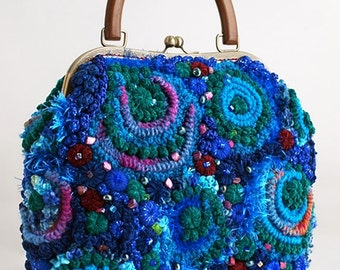 "Crochet Bag ""Valerie"" blue with green"