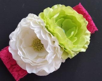 Double Flower Toddler Headband