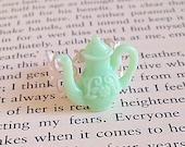 Kawaii Teapot Ring - Mint Green, Alice In Wonderland, Mad Hatter, Tea Party, Bubble Tea