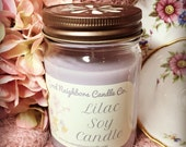 Lilac Soy Candle, 12 ounce,  Fresh and Floral Candle, Softest purple, Bronze Daisy Lid, Cotton Wick