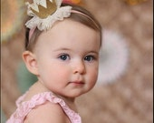 Gold crown headband - baby crown headband-gold crown clip for girls-princess crown-infant crown headband-newborn crown-Frozen crown headband
