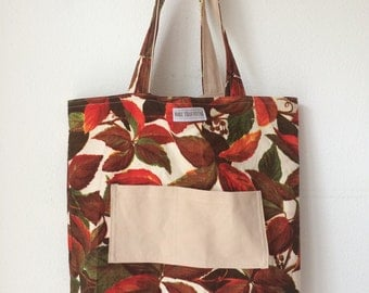 Handmade totebag, reversible, made of a vintage Boussac curtain fabric and beige canvas curtain
