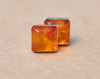 Amber Earrings handmade with Sterling Silver Earring Studs, 6mm Square Gemstone and silver earrings, orange, silver , amber jewelry, gifts
