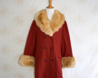 Vintage 70s Shearling Coat, 1970s Fur Trimmed Coat, Wool, Princess, Boho