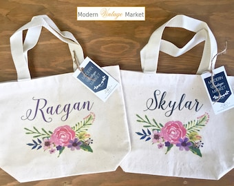 Tote Bag-1-Flower Girl bags-Tote Bags-Gift Bag-Wedding Bags-Bridesmaids Bags-Monogrammed Tote Bags-Custom Tote Bag-Modern Vintage Market