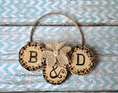CUSTOM Pyrography Ornament / Wood Burning / Rustic Country Christmas / One of a Kind / Woodburned / Wooden Decoration / Couples Initials