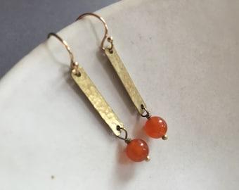 Hammered Brass Rectangle Earrings with Carnelian Stones. Orange Earrings