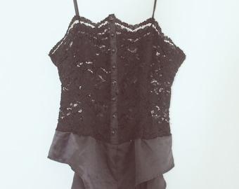 Vintage Lace & Satin Button Up Lingerie Teddy Bodysuit sz. S