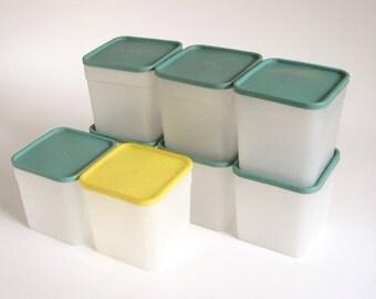 Square Plastic Freezer Containers Yellow & Green Lids Vintage 1970s Kitchen Quart Size