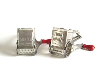 Hand Crank Cheese Grater Mouli Grater Red Wood Handle Kitchen Utensil