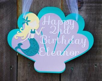 Mermaid Birthday Blonde Haired Party Door Sign, Mermaid Baby Shower, Mermaid 1st Birthday