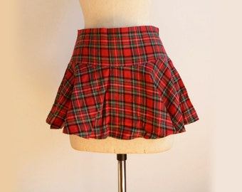Tartan mini skater skirt size XS one of a kind