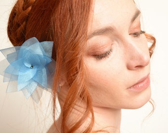 Light blue organza flower barrette - lotus