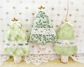 RESERVED for Colleen Fabric Tree Ornaments, Set of  3 Christmas Tree Onaments Holiday Primitive Decorations CharlotteStyle Home Decor