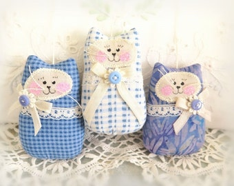 """3"""" Cat Ornaments /  Set of  3 / Blue Cats, Spring Mothers Day Gift Bowl Fillers Party Favors Decorations Home Decor CharlotteStyle"""