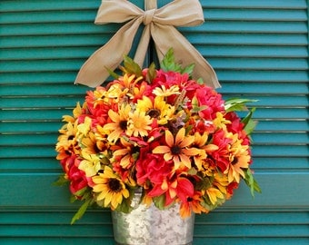 Summer thru Fall Wreath  Alternative - Fall Wreath - Autumn Door Wreath