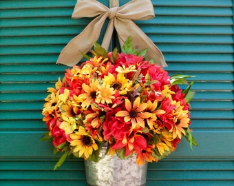 Autumn Door Wreath Alternative - Floral Wall Basket - Fall Wreath Alternative - Choose Bow