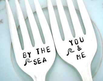 Beach Wedding Cake Forks - Coastal Wedding Decor -  You and Me By the Sea - Desire 1940