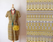60s white yellow navajo printed front zippered short sleeved knit shift day dress L