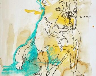 Original Sketch of a Dog, Animal, Contemporary Original Study, Quick Sketch