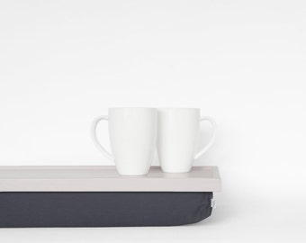 Stable table, iPad stand or wooden Breakfast in Bed serving Tray - light grey with dark grey cottonPillow