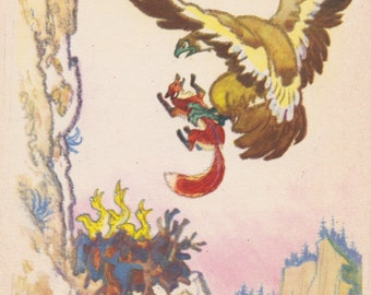 "Postcard Illustration by N. Kochergin for Russian Folk Tale ""The Fox and The Eagle"" -- 1963"