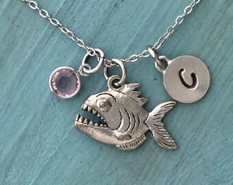 Piranha Necklace, Personalized Necklace, Silver Pewter Pirahna Charm, Custom Necklace, Swarovski Crystal birthstone, monogram