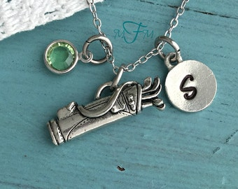 Golf Bag Charm Necklace, Personalized Necklace, Silver Pewter Golf Bag Charm, Custom Necklace, Swarovski Crystal birthstone