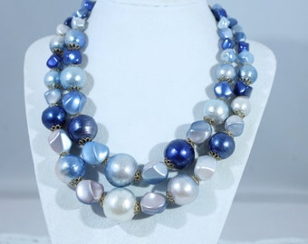 Pretty Double Strand Blue And Golden Plastic Bead Necklace
