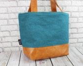 Lulu Medium Tote  Bag Teal Linen and PU Leather- READY to SHIP Purse Shoulder Straps 3 pockets Handbag Washable
