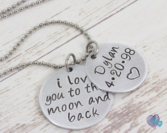 Hand Stamped Jewelry  -  Personalized Necklace  -  Mom Necklace  -  i love you to the moon and back